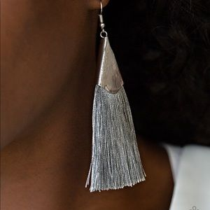 In Full Plume Silver Earrings